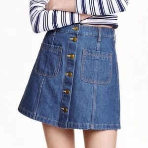 Button-up Jean Skirt with Pockets